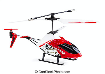 radio-controlled model of the helicopter isolated on a white...