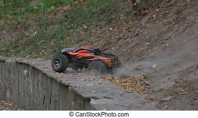 radio-controlled, sauts, voiture, downhill.