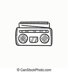 radio, croquis, cassette, icon., joueur