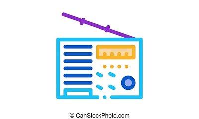 radio device Icon Animation. color radio device animated icon on white background