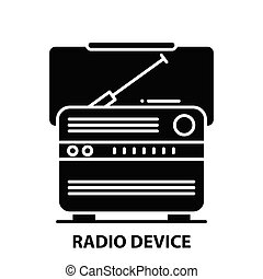 radio device icon, black vector sign with editable strokes, concept illustration