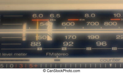Radio dial, searching for stations. blur effect