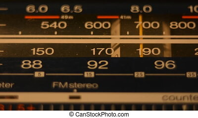 Radio dial, searching for stations. The old radio