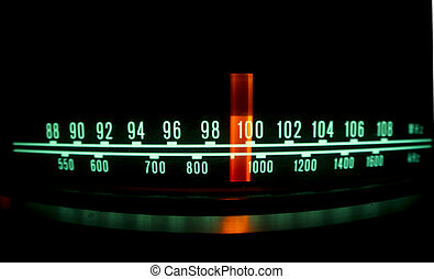 radio dial with lights - a glowing radio with the marker...