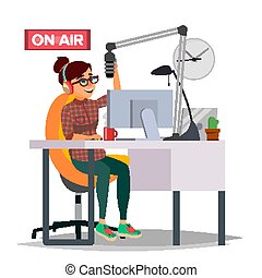 Radio DJ Woman Vector. Broadcasting. Modern Radio Station....