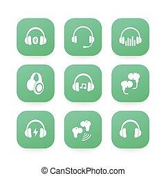 radio, earbuds, ikonen, hörlurar, hörlurar