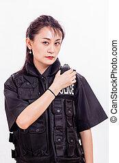 radio, femmina, vigilare ufficiale, cinese