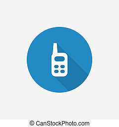 radio Flat Blue Simple Icon with long shadow