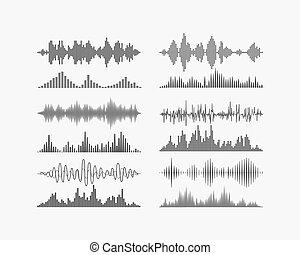 radio, fréquence, numérique, vagues, formes