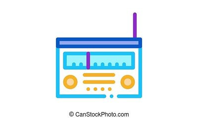 radio gadget Icon Animation. color radio gadget animated icon on white background