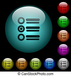 Radio group icons in color illuminated glass buttons