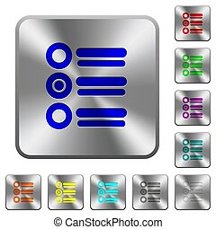 Radio group rounded square steel buttons