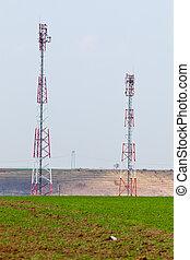 Radio GSM towers - Telecommunication radio GSM towers on a ...