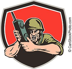 radio, guerra, americano, scudo, due, mondo, campo, soldato