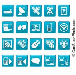 radio, heiligenbilder, auf, blaues, quadrate