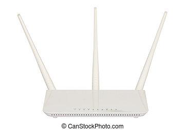 radio, hintergrund., weißes, freigestellt, router