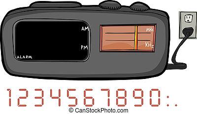 radio, horloge