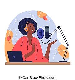 Podcast concept illustration - Radio host.Podcast concept ...