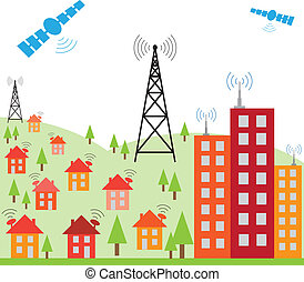 radio, hus, signal, illustration, internet