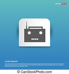 Radio icon - Blue Sticker button