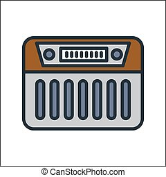 radio icon color illustration design
