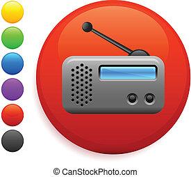 radio icon on round internet button