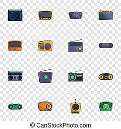 Radio icon set, cartoon style