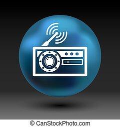 radio icon vector station symbol fm antenna.