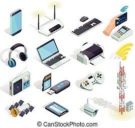 radio, iconos, conjunto, dispositivos, isométrico, tecnología