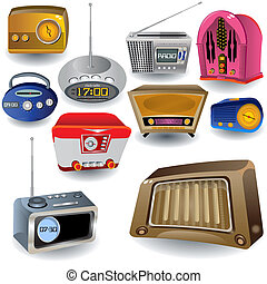 Radio Icons - Vector illustration of ten different high...