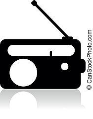 radio, ikona, sylwetka, wektor