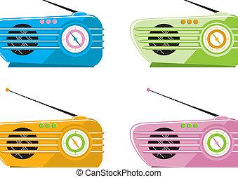 Radios im siebzigr Jahre Stil