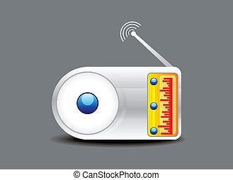 radio, lustré, résumé, icône, vecteur