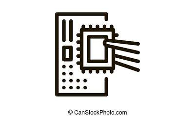 radio microchip Icon Animation. black radio microchip animated icon on white background