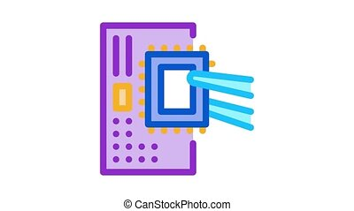 radio microchip Icon Animation. color radio microchip animated icon on white background