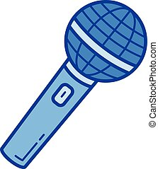 Radio microphone line icon.