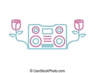 radio music player neon lights vector illustration design
