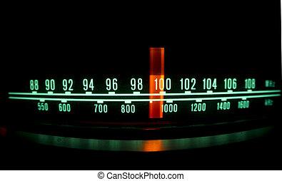 radio, nakręcać, z, światła