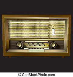 radio, negro, aislado, retro