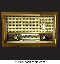 radio, nero, isolato, retro