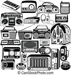 radio, noir, cassette, icônes