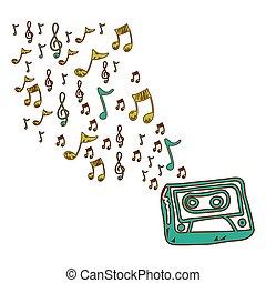 radio, note, icona, tecnologia, musica