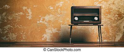 Vintage, retro radio. Radio old fashioned on wooden table, oarange color wall background, banner, 3d illustration