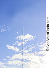 Radio or wireless tower with blue