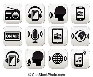 Radio, podcast app on smartphone