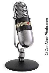 radio, prata, mikrofon