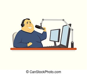 Radio presenter - cartoon people character isolated illustration