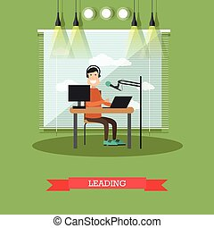 Radio presenter concept vector illustration in flat style -...