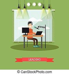 Radio presenter concept vector illustration in flat style -...