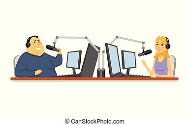 Radio presenters - cartoon people character isolated illustration